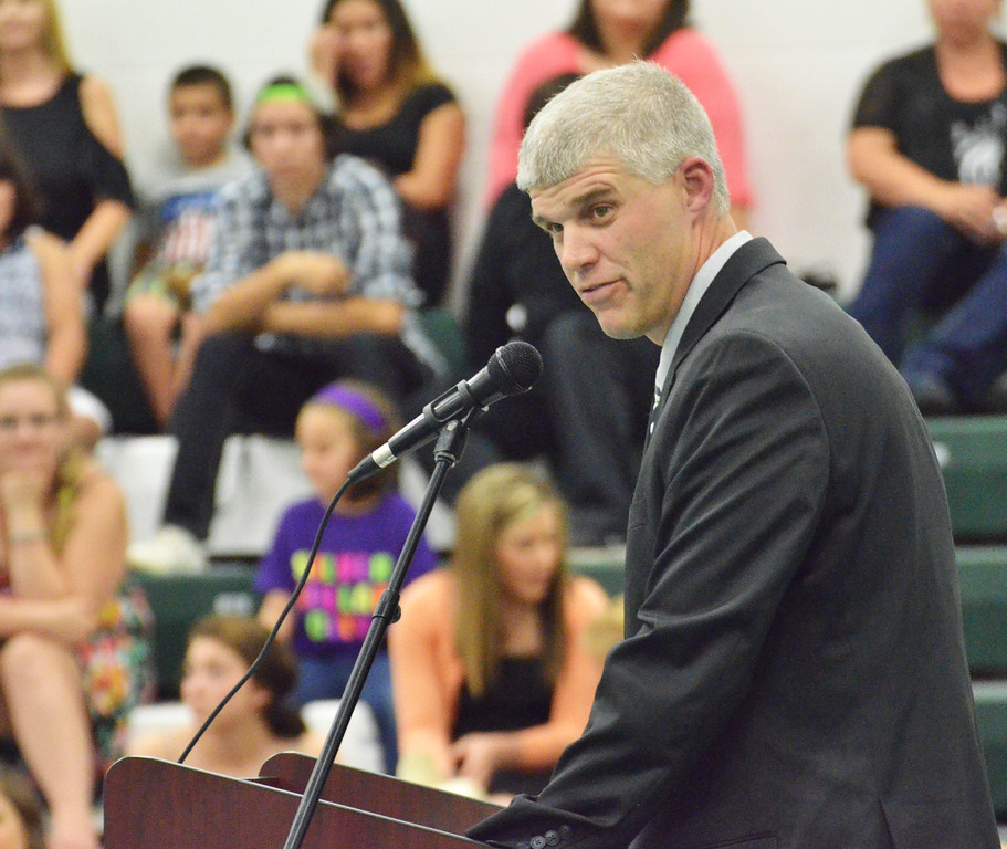 Mike Dunn | The Sheridan Press. <br /> Mark Fritz, TRHS principal, gives the keynote address at the commencement ceremony at Tongue River High School Sunday evening.
