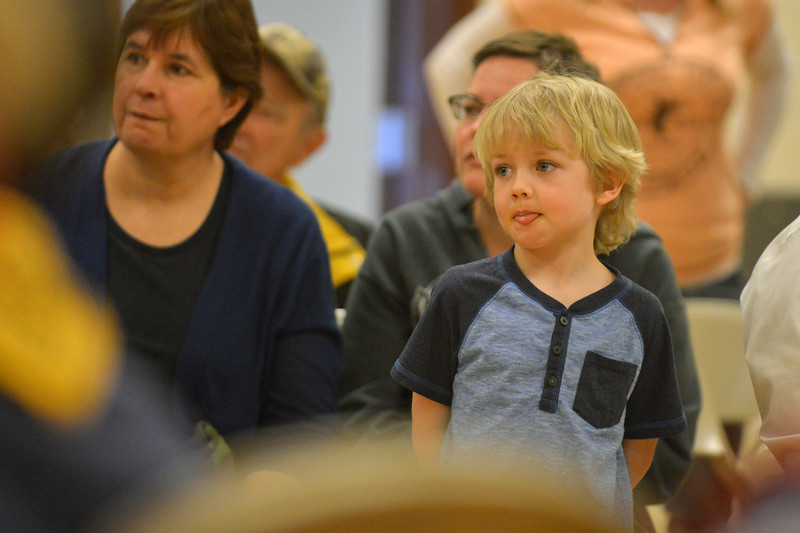 Waylon Hape watches intently as his car races down the track during the Boy Scouts Pack 510 pinewood derby on Saturday, March 4 at the Church of Jesus Christ of Latter Day Saints. Mike Pruden | The Sheridan Press