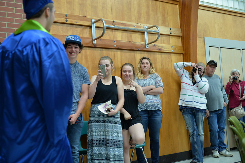 Justin Sheely | The Sheridan Press<br /> Friends and family watch as the class of 2017 marches into the gymnasium during the 2017 Graduation Ceremony Saturday at Fort Mackenzie High School.
