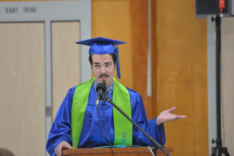 Justin Sheely | The Sheridan Press<br /> Valedictorian Garet Szmyd speaks during the 2017 Graduation Ceremony Saturday at Fort Mackenzie High School.