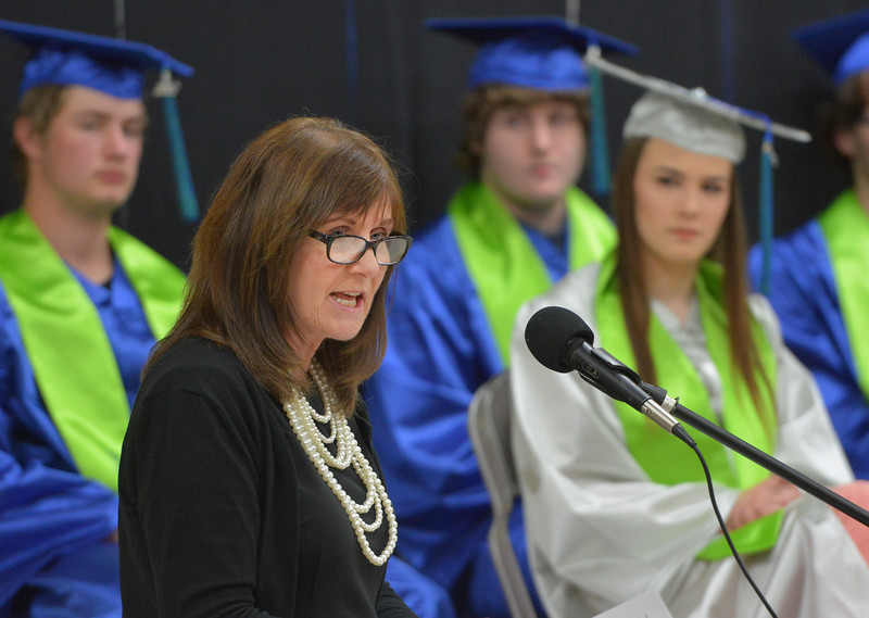 Justin Sheely | The Sheridan Press<br /> Commencement speaker Val Burgess shares advice from World War II prisoners of war interviews during the 2017 Graduation Ceremony Saturday at Fort Mackenzie High School.