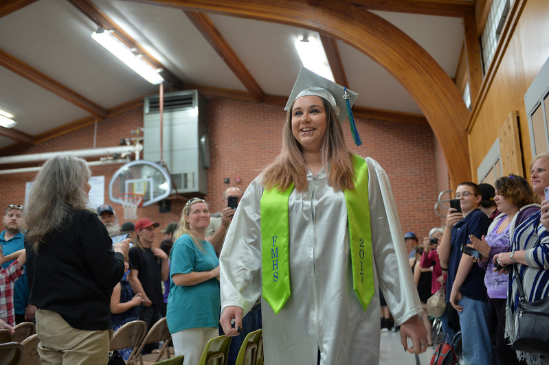 Justin Sheely | The Sheridan Press<br /> Victoria Kaupp marches into the gymnasium during the 2017 Graduation Ceremony Saturday at Fort Mackenzie High School.