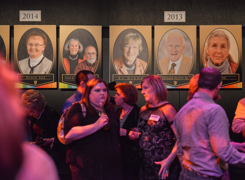 Justin Sheely | The Sheridan Press<br /> Guests mingle in the Mars black box theater during the annual Keystone Awards Thursday at the WYO Theater. This year's honorees were Reta Onstott, Forrest and Jacomien Mars and Jim Wilson.