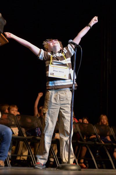"Justin Sheely | The Sheridan Press<br /> Meadowlark Elementary student Ethan Milne reacts after correctly spelling the word ""anesthesia"" to win the 2017 Sheridan County Spelling Bee hosted by Century 21 BHJ Realty Saturday at the WYO Theater."