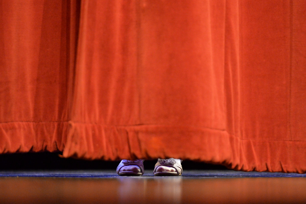 Justin Sheely | The Sheridan Press<br /> A singer gets ready behind the curtain during the dress rehearsal for Stars of Tomorrow Thursday at the WYO Theater. The Sheridan Kiwanis Club talent contest is Friday, 7 p.m. at the WYO Theater.