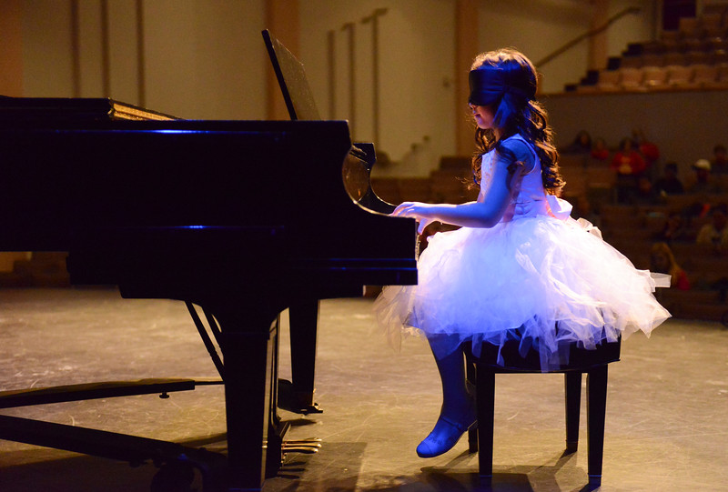 Justin Sheely | The Sheridan Press<br /> Meagan Romero plays the piano during the dress rehearsal for Stars of Tomorrow Thursday at the WYO Theater. The Sheridan Kiwanis Club talent contest is Friday, 7 p.m. at the WYO Theater.