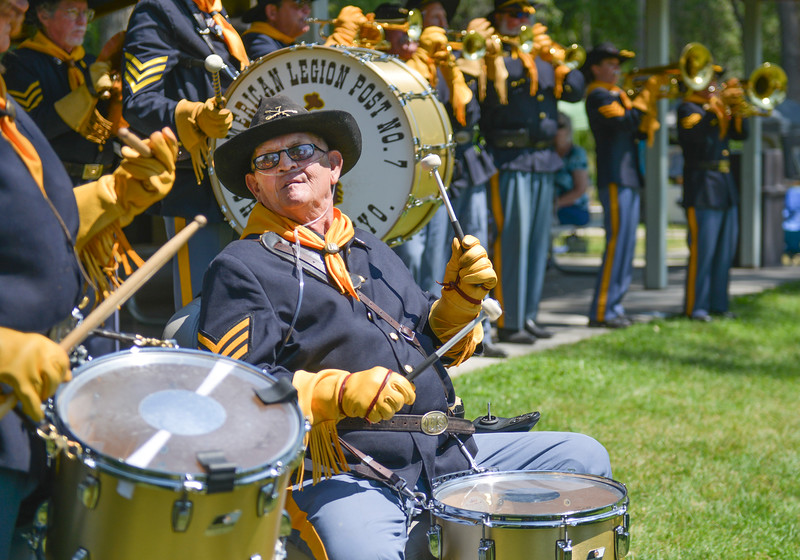 Justin Sheely | The Sheridan Press<br /> Six-year-drummer Jerry Barker plays with the American Legion Post 7 Drum and Bugle Corps during the 40th annual Dayton Days Saturday in the town of Dayton. The upper-ninety-degree weather did not stop Tongue River Valley residents from enjoying the day's festivities, including knocker ball, human foosball, duck races and the firemen's water fight.