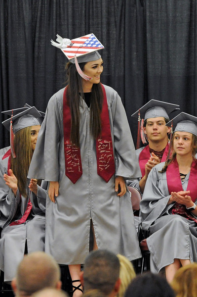 Elizabeth Vickers, who trained in the Army Reserve, is recognized during the graduation ceremony on Sunday, May 28 at Big Horn High School. Mike Pruden | The Sheridan Press