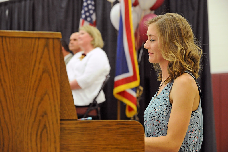 Amiah Warder plays the piano during the graduation ceremony on Sunday, May 28 at Big Horn High School. Mike Pruden | The Sheridan Press
