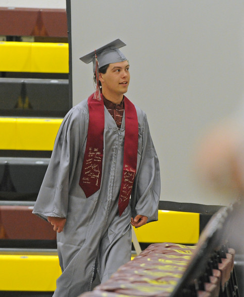 Andrew Walker walks onto the stage during the graduation ceremony on Sunday, May 28 at Big Horn High School. Mike Pruden | The Sheridan Press