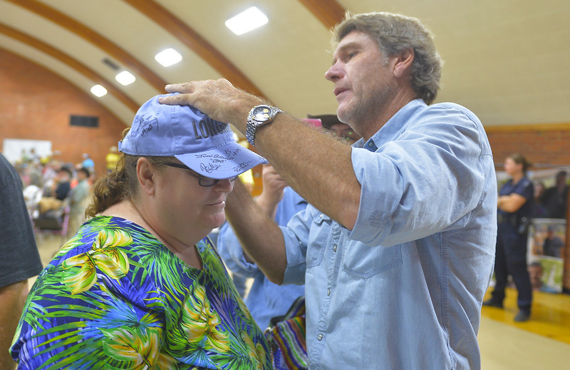 Justin Sheely | The Sheridan Press <br /> Longmire fan Cristi Bowerman of Oklahoma City, Oklahoma, has her hat signed by Sheriff Longmire, Robert Taylor, during the sixth annual Longmire Days Saturday at the Bomber Mountain Civic Center in Buffalo, Wyoming. The show is based on local author Craig Johnson's novels set in the fictional town of Durant, inspired by the town of Buffalo. Longmire's sixth and final season will be on Netflix sometime this year.
