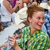 Cassidy Freeman (Cady Longmire) reacts to a friend behind the autograph table during Longmire Days Saturday at Crazy Woman Square in Buffalo.