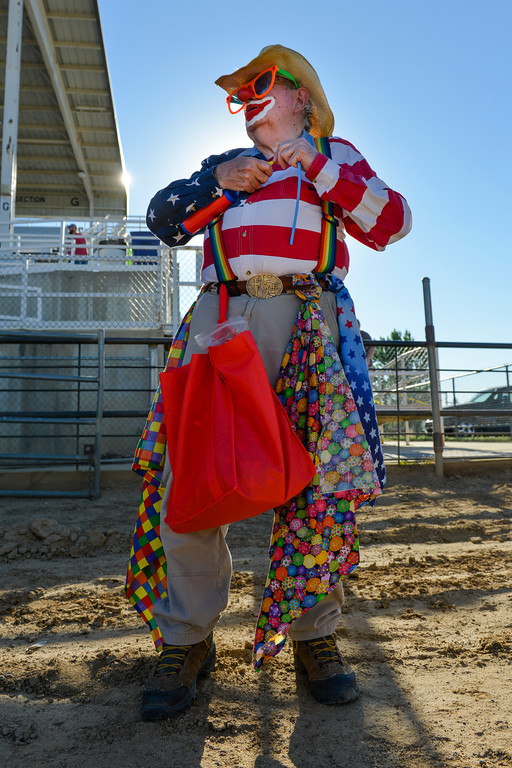 Justin Sheely | The Sheridan Press<br /> Chuckles the Clown makes balloon toys for the VIP pit stop event prior to the Mega Promotions Monster Truck show Saturday at the Sheridan County Fairgrounds.
