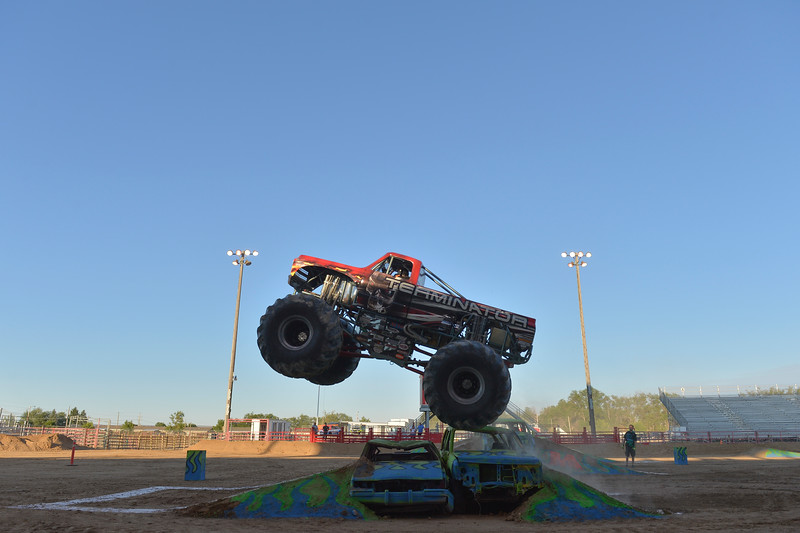 Justin Sheely | The Sheridan Press<br /> The Terminator pops a wheelie during the Mega Promotions Monster Truck show Saturday at the Sheridan County Fairgrounds.