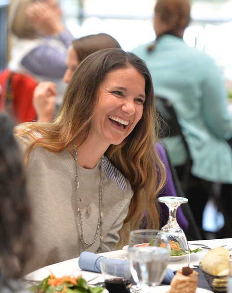 Justin Sheely | The Sheridan Press<br /> Gretchen McCafferty visits at the dinner table during the 2017 FAB Women's Conference Friday at the Sheridan College Whitney Atrium. Tempe Murphy was named this year's Woman of the Year. Nominees Carrie Sisson, Sonja Caywood and Marta Ostler were honored at the event.