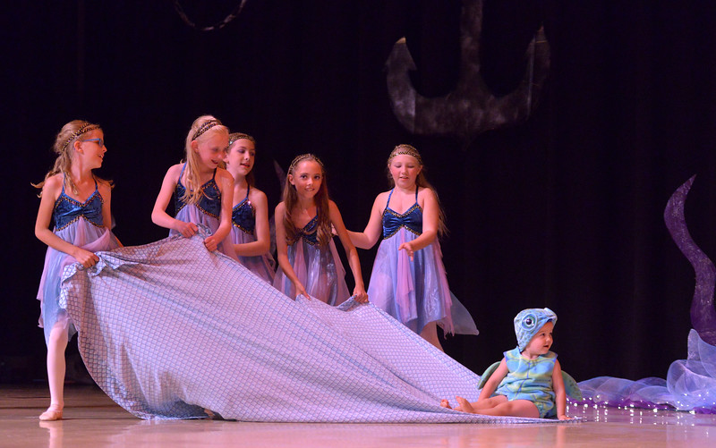 "Justin Sheely | The Sheridan Press<br /> Two-year-old Nathan Adney as the Baby Sea Turtle rides on a bed sheet pulled by dancers during a dress rehearsal Saturday for the dance recital by Pieknik's School of Dance at the Sheridan Junior High School Early Auditorium. Performance is this Friday at 6 p.m. at the Early Building. Tickets are $10 and may be purchased online:  <a href=""http://www.recitalticketing.com/25402"">http://www.recitalticketing.com/25402</a>."