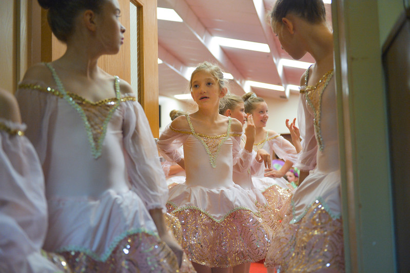 "Justin Sheely | The Sheridan Press<br /> Brynn Kirol and the Clams wait at the door for their number in the music room during a dress rehearsal Saturday for the dance recital by Pieknik's School of Dance at the Sheridan Junior High School Early Auditorium. Performance is this Friday at 6 p.m. at the Early Building. Tickets are $10 and may be purchased online:  <a href=""http://www.recitalticketing.com/25402"">http://www.recitalticketing.com/25402</a>."