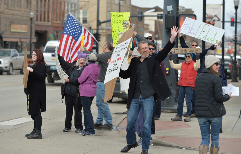 Justin Sheely | The Sheridan Press<br /> Educators, students and community members protest legislation in the Wyoming Senate Saturday on Main Street in Sheridan. The protest was organized by members of Real Resistance Wyoming in response to Senate Joint Resolution SJ0009, co-sponsored by Sen. Dave Kinskey, R-Sheridan, which proposes an amendment that would prohibit the courts to rule on funding for public schools beyond what the legislature would determine necessary. The amendment is seen by the protestors as a threat to funding for Wyoming's public education.