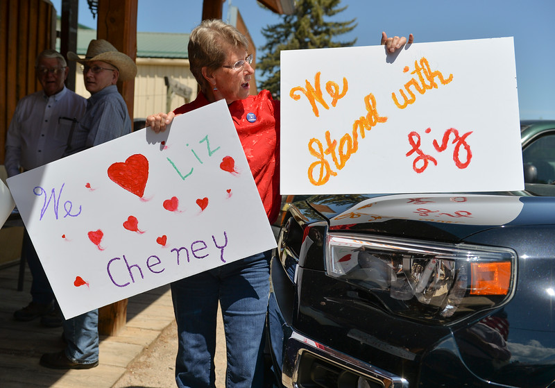 Justin Sheely | The Sheridan Press<br /> Casper member Kathy Morgan holds signs during the Republican Women of Sheridan County scholarship fundraiser Thursday at the Big Horn Smokehouse in Big Horn. Real Resistance Wyoming of Sheridan organized the protest against U.S. Rep. Liz Cheney, R-Wyoming, and government cuts to the Environmental Protection Agency. Cheney came to speak at the fundraiser, which provides scholarships to local women republican college students.