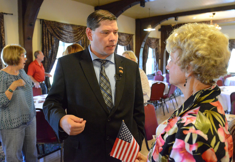 Justin Sheely | The Sheridan Press<br /> Congressional candidate Jason Senteney visits during the congressional meet and greet for Republican candidates for Wyoming's lone U.S. House seat Tuesday night at the Historic Sheridan Inn. The event was organized by the Republican Women of Sheridan County and the Sheridan County Republican Party. Attendees got to listen to eight out of the nine republicans running for U.S. Rep Cynthia Lummis' seat.