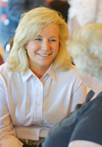 Justin Sheely | The Sheridan Press<br /> Congressional candidate Liz Cheney, daughter of former Vice President Dick Cheney, visits during the congressional meet and greet for Republican candidates for Wyoming's lone U.S. House seat Tuesday night at the Historic Sheridan Inn. The event was organized by the Republican Women of Sheridan County and the Sheridan County Republican Party. Attendees got to listen to eight out of the nine republicans running for U.S. Rep Cynthia Lummis' seat.