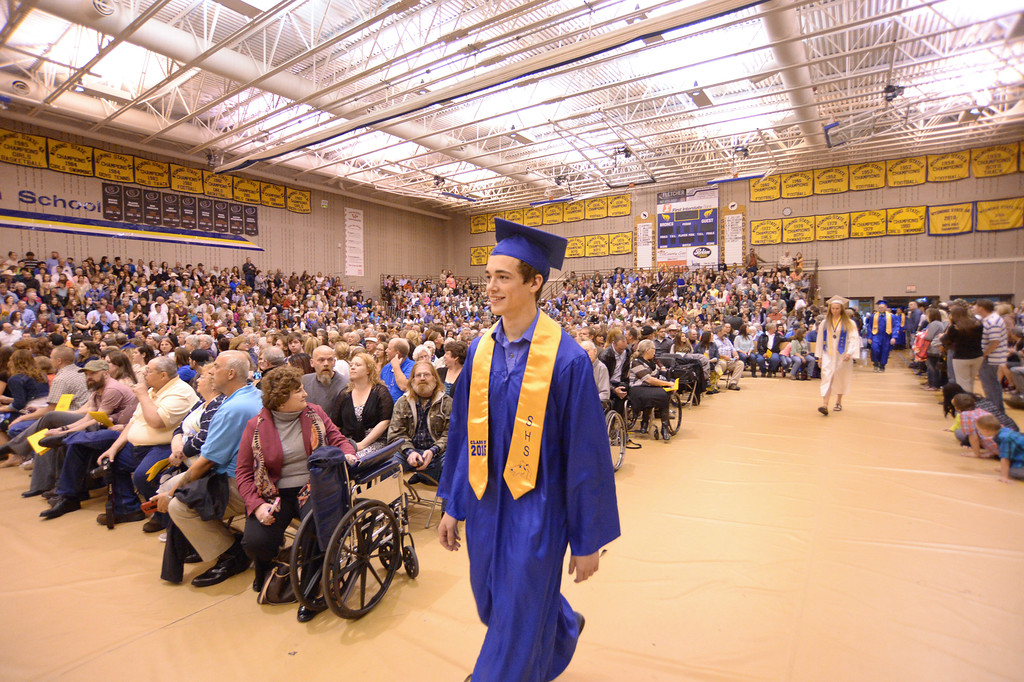 Sheridan graduate Lane Eisenman marches into the gymnasium during the Commencement Ceremony Sunday at Sheridan High School. Justin Sheely/The Sheridan Press.