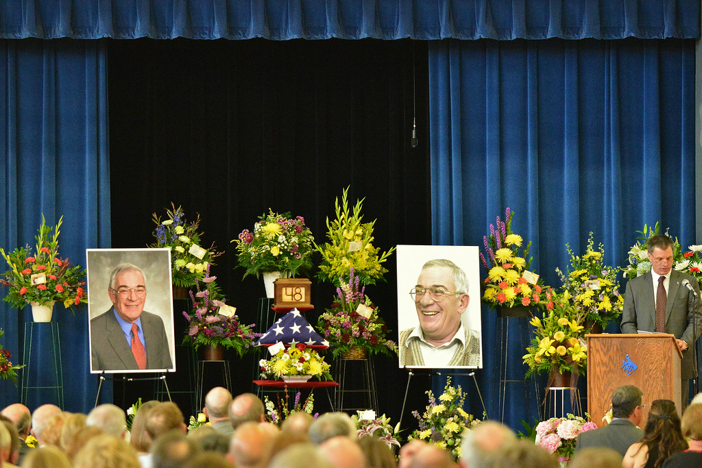 Wyoming State Treasurer Mark Gordon gives a eulogy during the Celebration of Life service of Sen. John Schiffer, R–Kaycee, at the Kaycee High School gymnasium in Kaycee, Wyo. Attendance for the service contained a mix of family, friends, neighbors, colleagues, politicians, and other dignitaries. Sen. John Schiffer died last week at age 68 from liver cancer. The Sheridan Press|Justin Sheely.