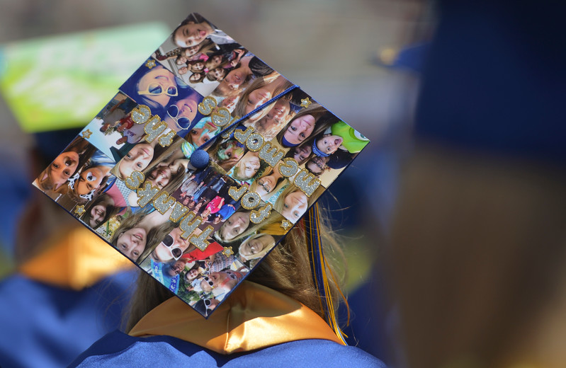 Justin Sheely | The Sheridan Press<br /> A decorated mortar board is seen during the 2017 graduation ceremony Saturday at Sheridan High School.