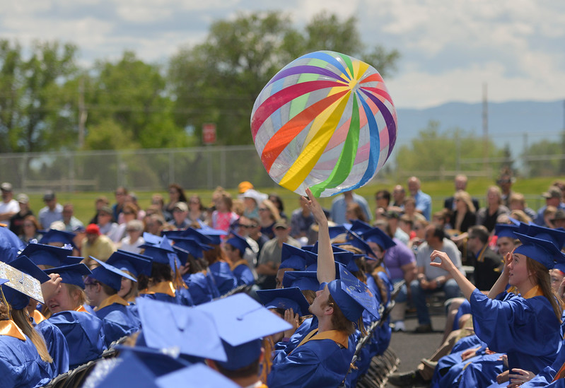 Justin Sheely | The Sheridan Press<br /> Beach balls make an appearance during the 2017 graduation ceremony Saturday at Sheridan High School.