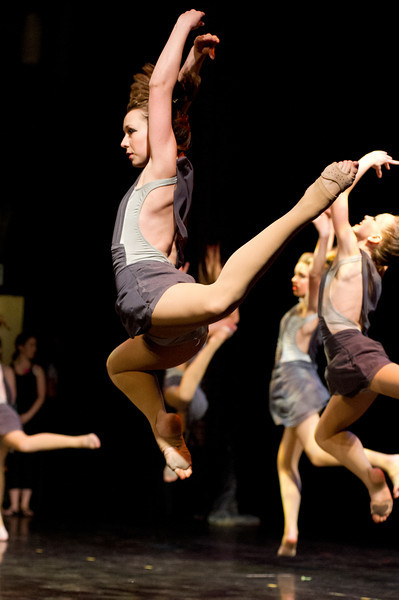 Olivia Boley leaps in the air during a dance recital Friday night at the WYO Theater.