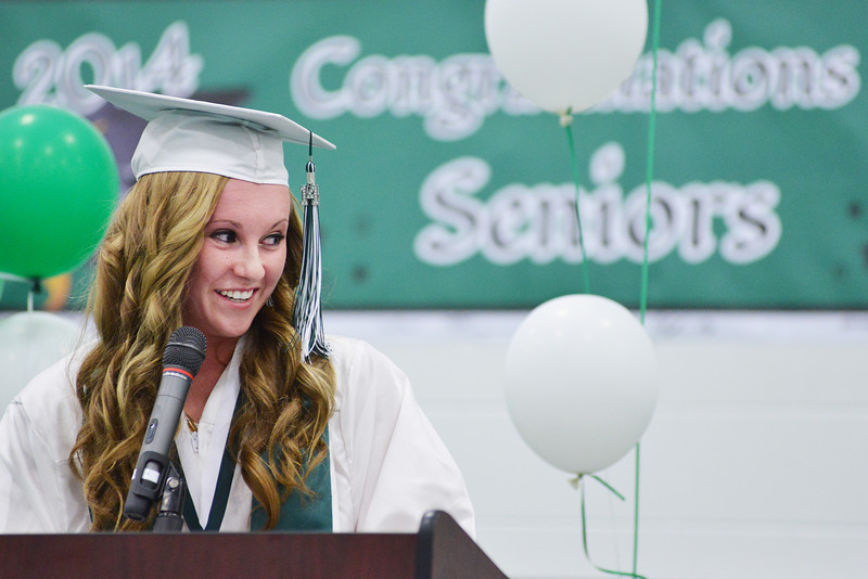 Cheyloh Bluemel gives the salutatorian address during the 2014 Graduation Ceremony Sunday at Tongue River High School.