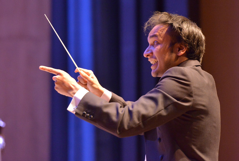 Justin Sheely | The Sheridan Press<br /> The Colorado Symphony conductor Christopher Dragon leads during the inaugural concert Saturday night at the Whitney Center for the Arts Concert Hall.