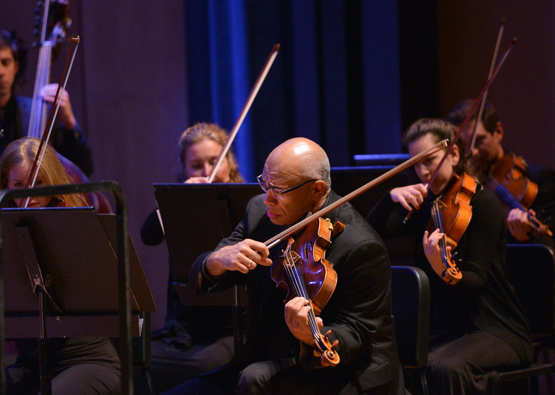 Justin Sheely | The Sheridan Press<br /> The viola section of the Colorado Symphony performs during the inaugural concert Saturday night at the Whitney Center for the Arts Concert Hall.