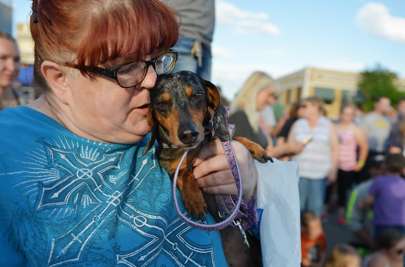 Justin Sheely | The Sheridan Press<br /> Jeannine Hossack holds Dutchess between races during the Wiener Dog Races Tuesday evening outside of Black Tooth Brewery. The event was hosted by Muddy Paw Prints.