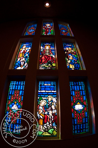 Stained glass in the sanctuary of First United Methodist Church, Lakeland, Florida.