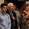 Annual commemoration of the Armenian Genocide, at Lowell City Hall. From left, Chelmsford High student David Arakelian, Lowell mayor Bill Samaras, Emily Byrne representing Lor Trahan, and city councilor Rita Mercier. (SUN/Julia Malakie)