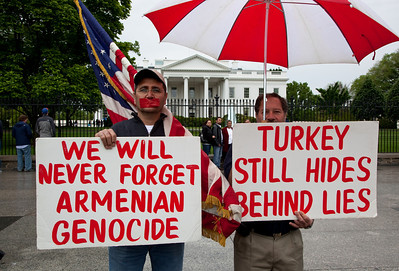 Demonstrators in front of the White House north fence mark the 95th anniversary of the deliberate and systematic destruction of the Armenian population of the Ottoman Empire during and just after World War I. Many in the Armenian community are upset that President Obama, who as a candidate promised to use the term genocide to describe the Ottoman slaughter of 1.5 million Armenians, in a recent statement commemorating the event, declined to do so. The Republic of Turkey, a NATO ally, denies the word genocide is an accurate description of the events. In March, the House Foreign Affairs Committee voted narrowly to condemn the mass killings as an act of genocide. Turkey briefly recalled its ambassador from Washington in protest. The starting date of the genocide is conventionally held to be April 24, 1915, the day that Ottoman authorities arrested some 250 Armenian intellectuals and community leaders in Constantinople. April, 24, 2010 in Washington DC. (Photo by Jeff Malet)