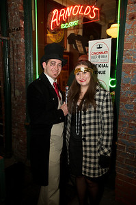 TJ Kell and Emily Stucke with the 'Prohibition Pub Crawl' at Arnold's Friday Night