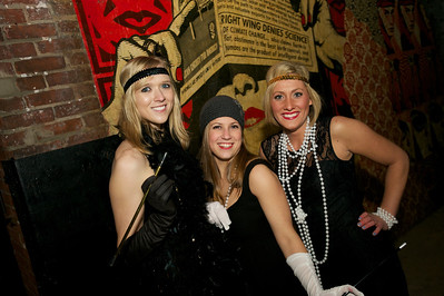 Courtney Ratkowiak, Katie Kemme and Melissa Schuller of Cincinnati at Arnold's Friday night for Cincy Brass and the 'Prohibition Pub Crawl'