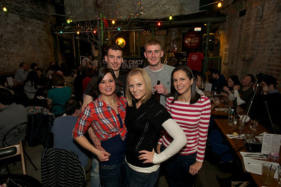 Kait Frazier, Joe Makowski, Brittany Heskamp, Brad Gerbus and Megan Florea of Cincinnati at Arnold's Friday night for Cincy Brass