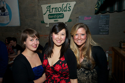 Fotina Naumenko, Esther Nkang and Frances Cobb students at CCM at Arnold's Friday night for Cincy Brass