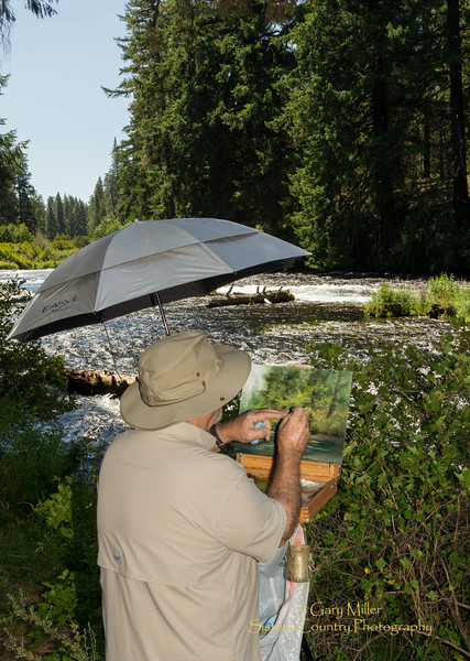 The Pleine Air Paintout on the Metolius River - A four hour painting challenge held in the area of the Camp Sherman Fish Hatchery as a fundraiser for the National Forest Foundation on July 28th, 2012. Camp Sherman, Oregon - Gary N. Miller - Sisters Country Photography