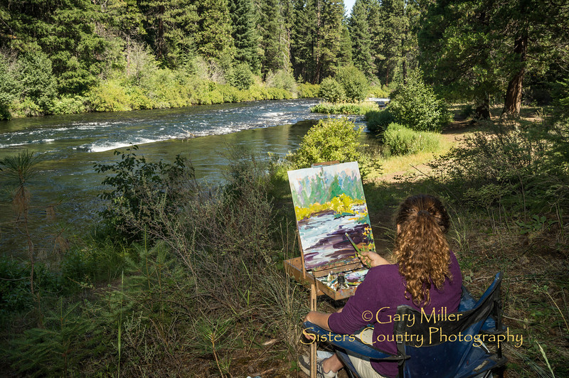 Artist Sandy Melchiori at the Pleine Air Paintout on the Metolius River - A four hour painting challenge held in the area of the Camp Sherman Fish Hatchery as a fundraiser for the National Forest Foundation on July 28th, 2012. Camp Sherman, Oregon - Gary N. Miller - Sisters Country Photography