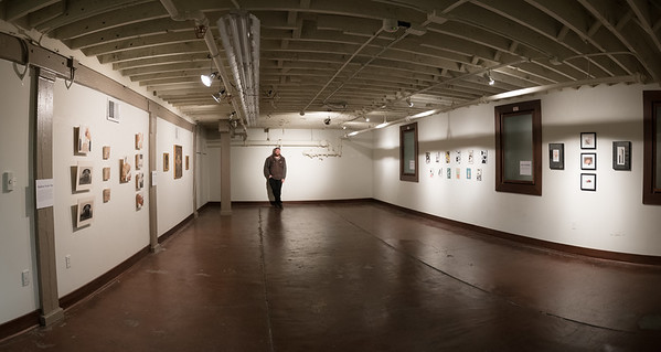 Ethan Ross (MFA '15) with the show he curated:  All Mixed Up in Pop Up Gallery