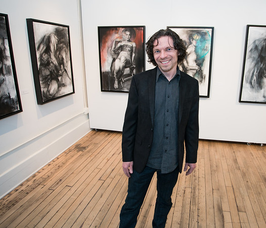Nick Reszetar (MFA '11) with his exhibition The Inexpressible at Spiral