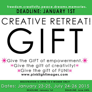 GIVE THE GIFT of a 2-day Creative Retreat!  I have 5 slots open for women artisans only.  Give this to someone you love so they can start their 2015 off AMAZING!!!!