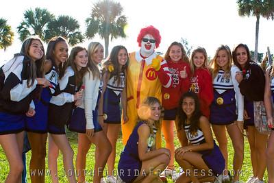 Ronald McDonald and Park Vista Cheerleaders