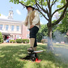 Nathan Stiles Jr. a member of the Ashburnham Light Infantry  sets off a cannon during the time capsule ceremony on Saturday in Ashburnham. SENTINEL & ENTERPRISE/JOHN LOVE
