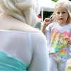 Ruth Normandin, 4, of Ashburnham chats with Elsa from Frozen at the Athol Savings bank's Booth during the Inaugural Ashburnham Lion's Club Community Day on Saturday. SENTIENL & ENTERPRISE/JOHN LOVE