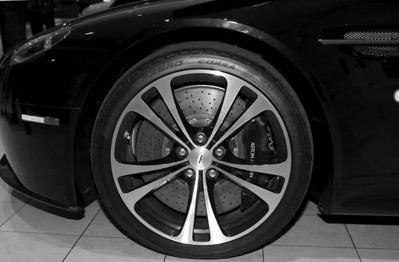 Note the size of the Aston Martin V12 Vantage's disc brake at 16 inches. Only at Gaudin Luxury Cars on 7200 West Sahara Ave, Las Vegas, Nevada 89117 Phone contact (800) 571-4979